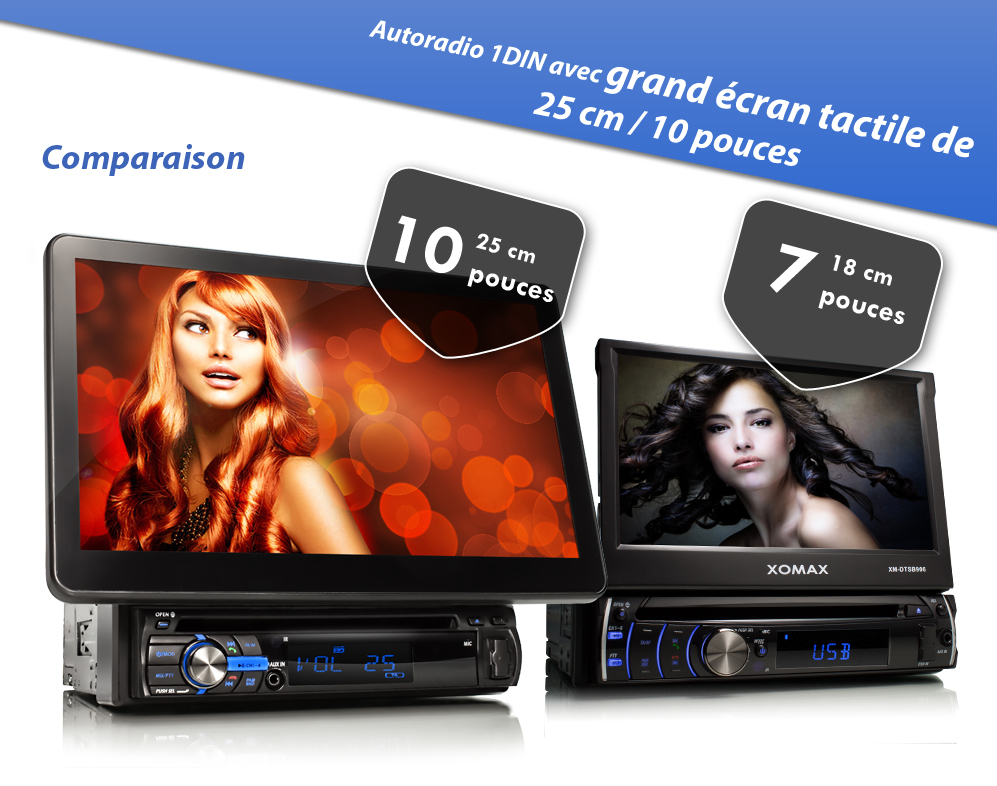 autoradio avec 25 cm ecran tactile bluetooth lecteur dvd. Black Bedroom Furniture Sets. Home Design Ideas