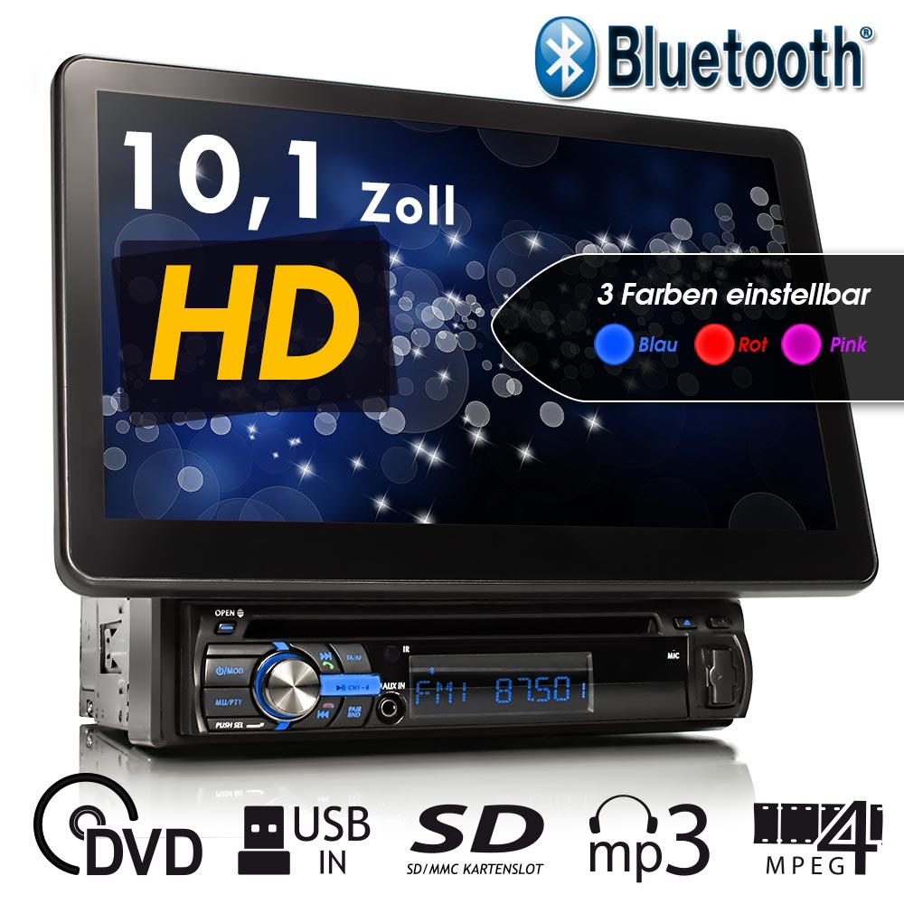 autoradio mit 25cm hd touchscreen bluetooth dvd cd sd. Black Bedroom Furniture Sets. Home Design Ideas