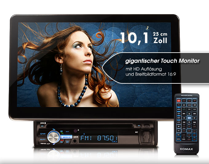 autoradio mit riesigem 25 cm 10 hd touchscreen bluetooth. Black Bedroom Furniture Sets. Home Design Ideas