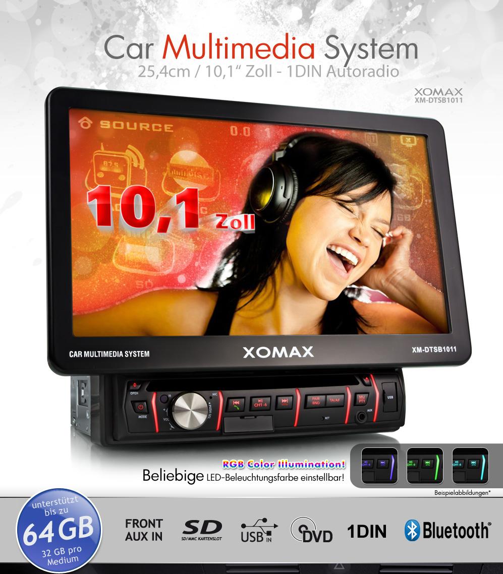 xomax xm dtsb1011 autoradio 25cm touchscreen bluetooth dvd. Black Bedroom Furniture Sets. Home Design Ideas