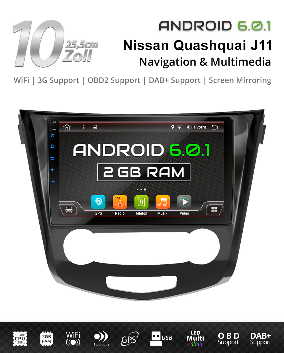 10 1 android6 0 autoradio f r nissan qashqai j11 2014 navi. Black Bedroom Furniture Sets. Home Design Ideas