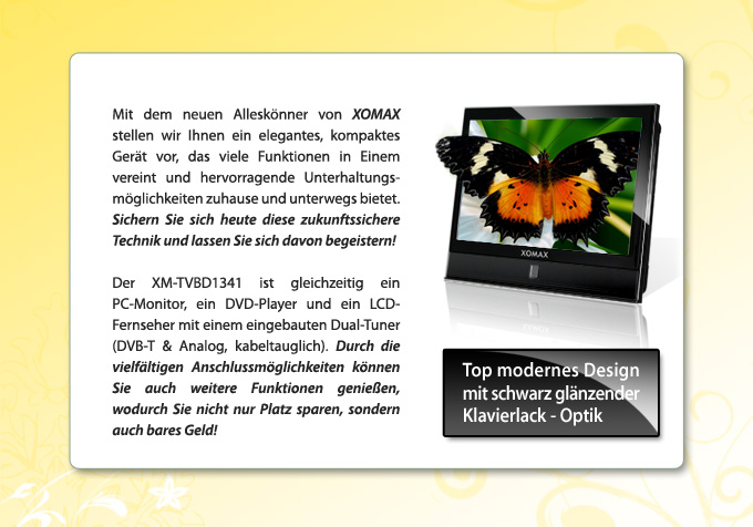 xomax dthd1341 led 12v fernseher mit dvb t usb dvd im wohnmobil haus. Black Bedroom Furniture Sets. Home Design Ideas