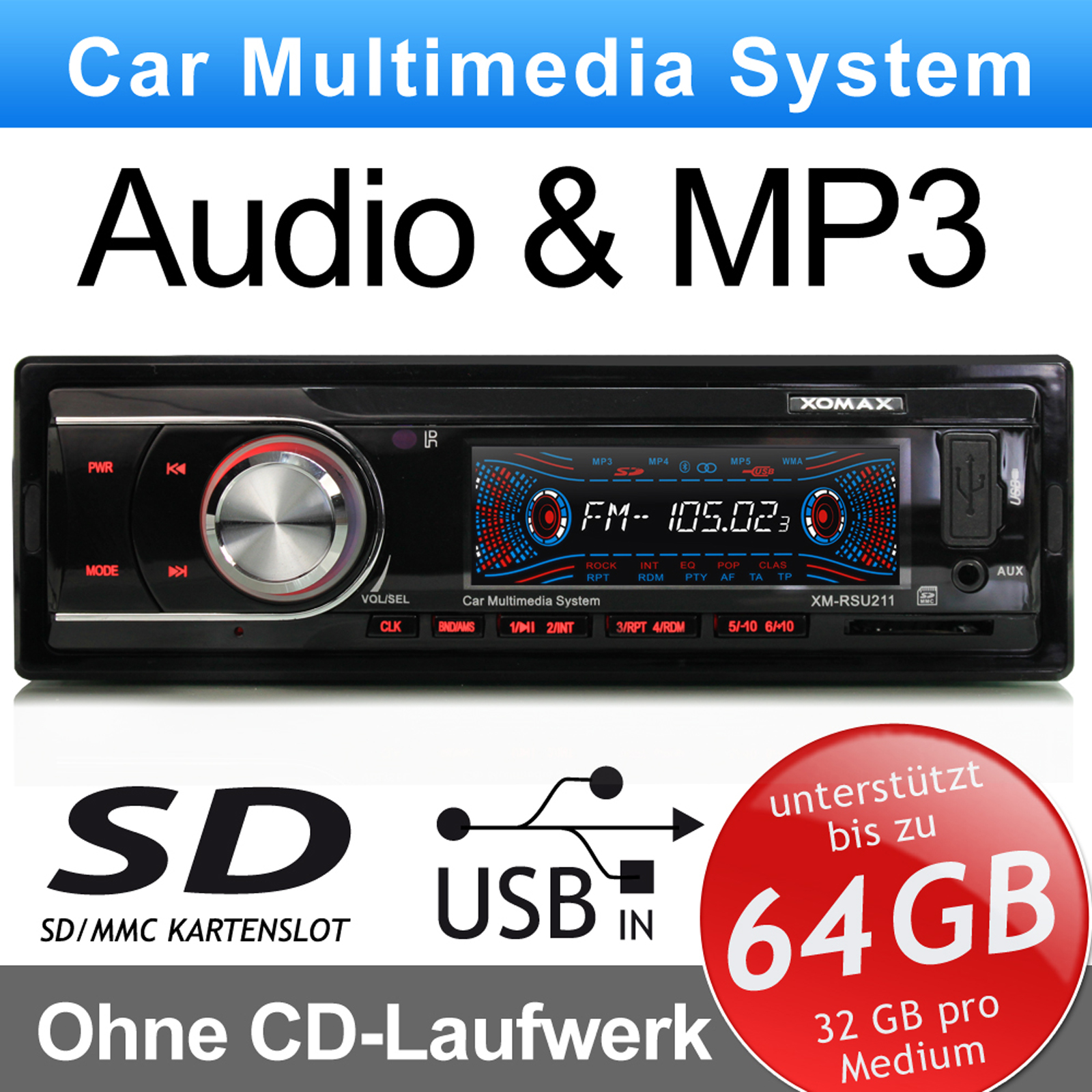 mp3 autoradio sd kartenslot usb anschluss aux in ohne cd beleuchtung rot 1 din ebay. Black Bedroom Furniture Sets. Home Design Ideas