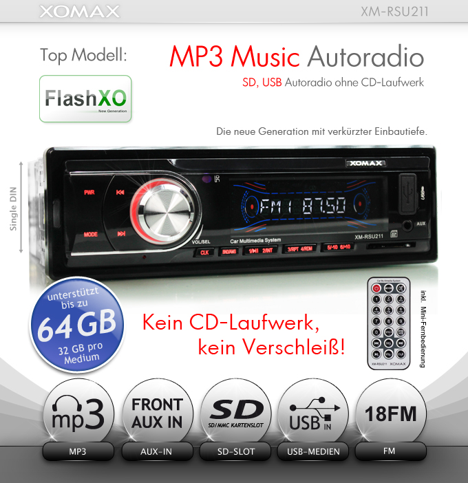 mp3 autoradio sd kartenslot usb anschluss aux in ohne cd. Black Bedroom Furniture Sets. Home Design Ideas