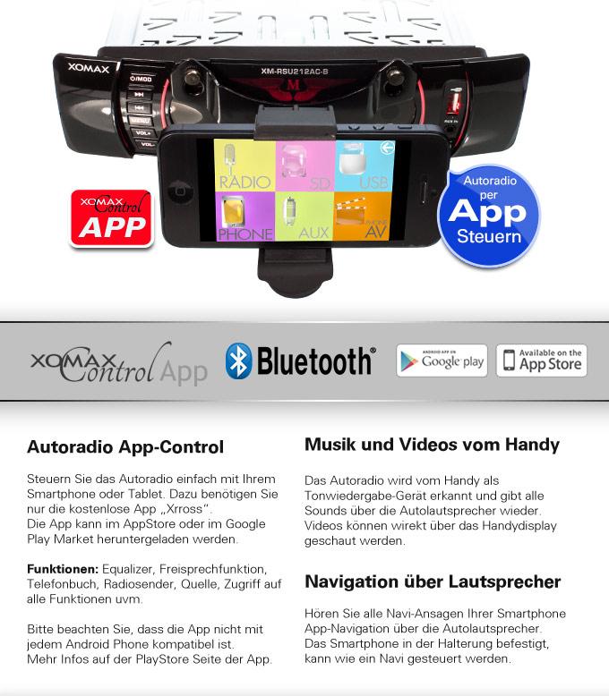 autoradio mit app steuerung f r iphone ios android handy. Black Bedroom Furniture Sets. Home Design Ideas