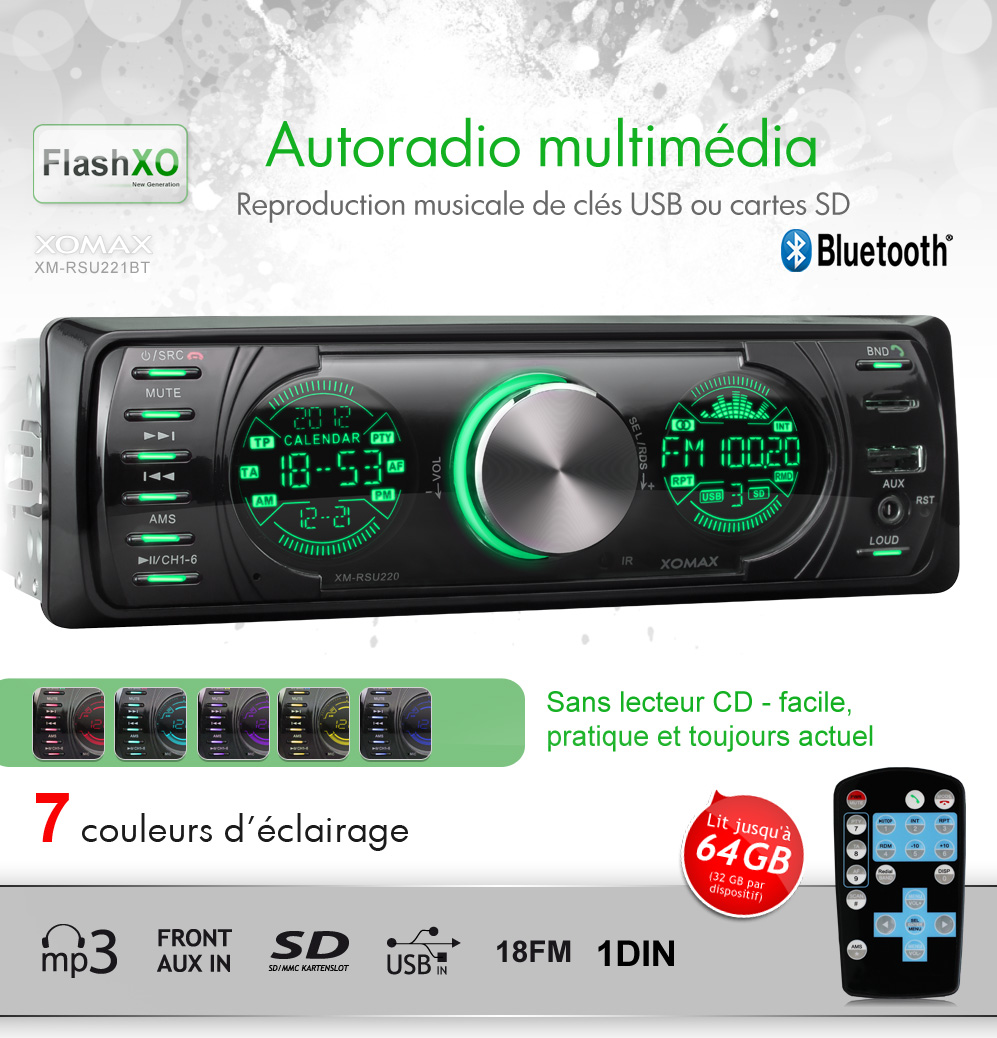 autoradio avec bluetooth usb sd 64gb mp3 aux eq 1din simple din sans lecteur cd ebay. Black Bedroom Furniture Sets. Home Design Ideas