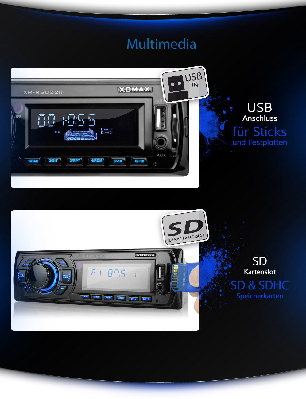 xomax xm rsu228 autoradio mit usb sd mp3 wma id3 tag aux. Black Bedroom Furniture Sets. Home Design Ideas