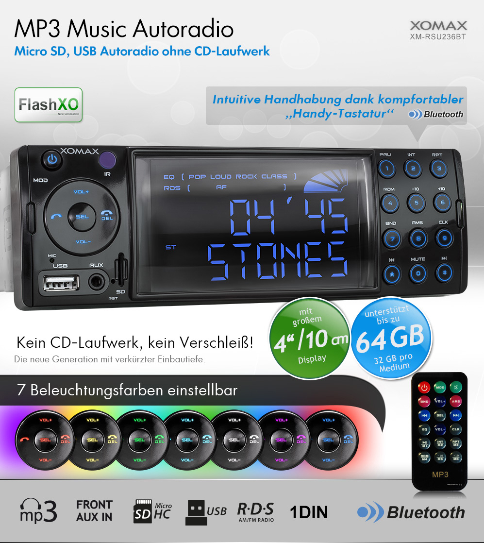 autoradio mit 7 farben 10cm display bluetooth usb sd aux. Black Bedroom Furniture Sets. Home Design Ideas