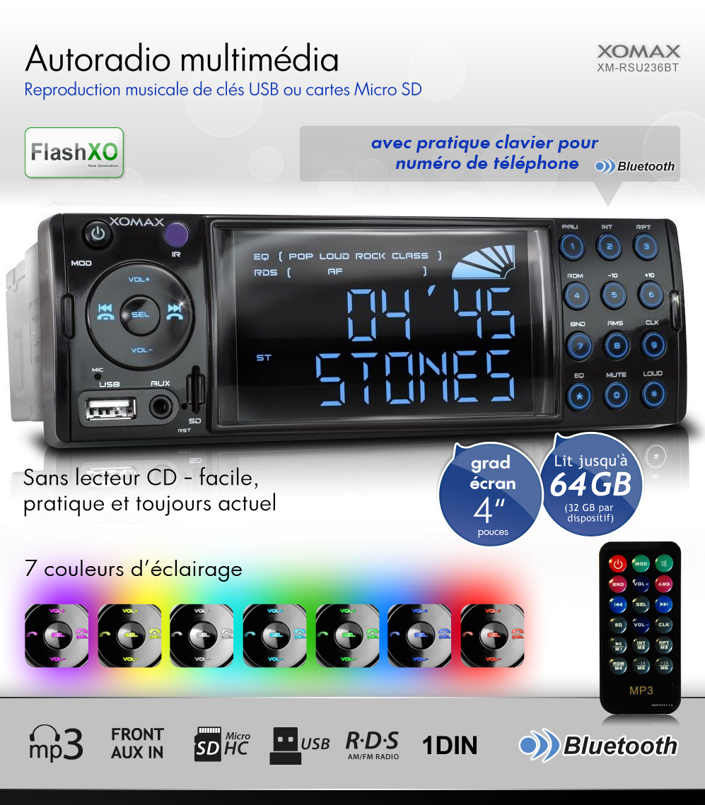 autoradio avec bluetooth usb micro sd 64gb mp3 aux rds simple 1din sans cd. Black Bedroom Furniture Sets. Home Design Ideas
