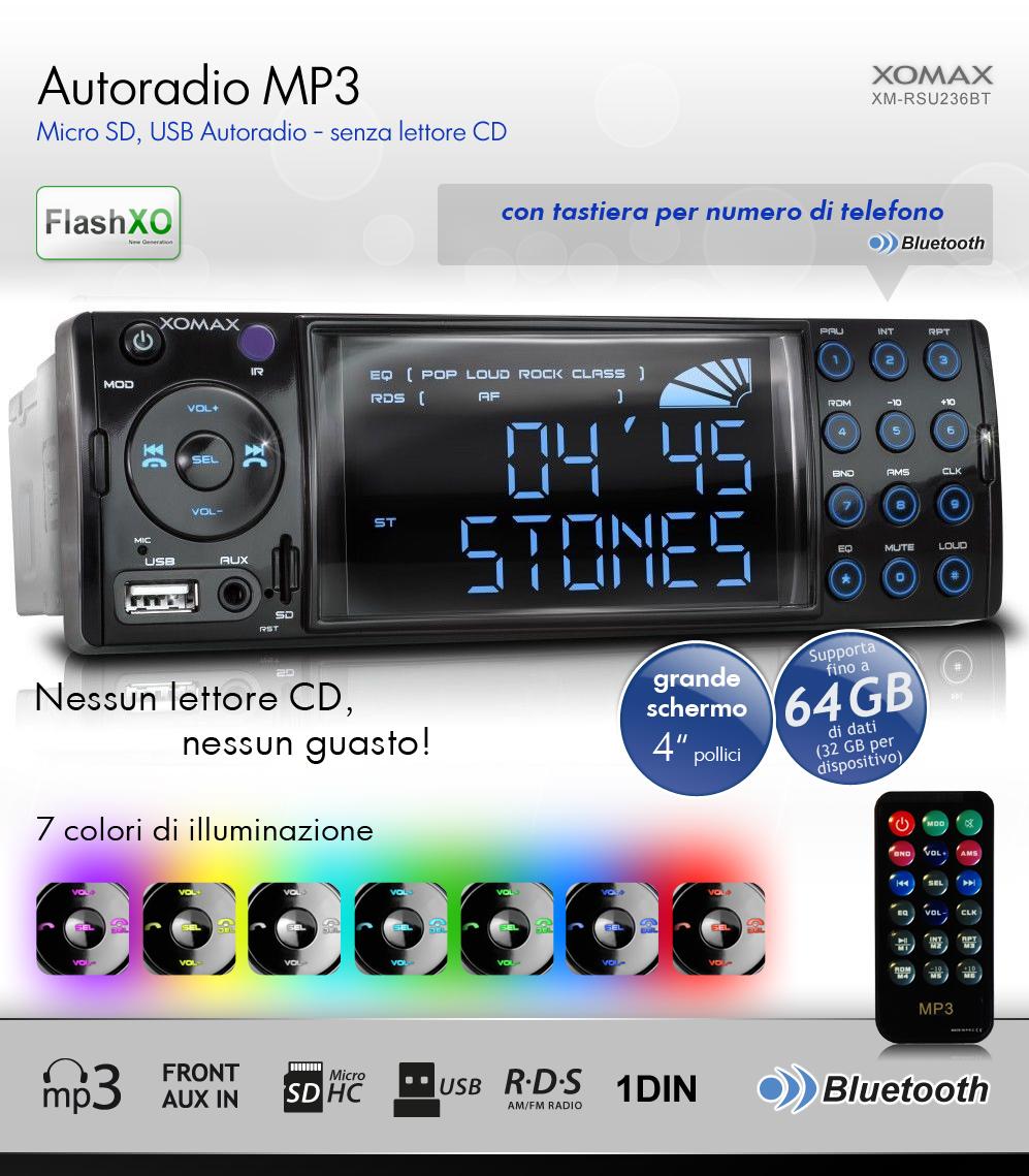 autoradio con bluetooth usb micro sd 64gb mp3 aux rds singolo 1din senza cd. Black Bedroom Furniture Sets. Home Design Ideas