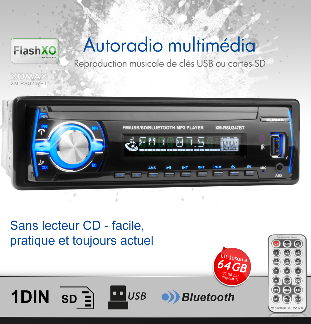 autoradio avec bluetooth usb sd 64gb mp3 aux eq simple 1din sans lecteur cd bleu ebay. Black Bedroom Furniture Sets. Home Design Ideas