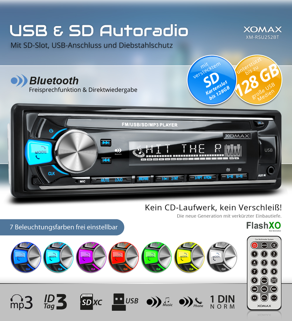 autoradio mit bluetooth freisprech 7 farben usb sd 128gb. Black Bedroom Furniture Sets. Home Design Ideas