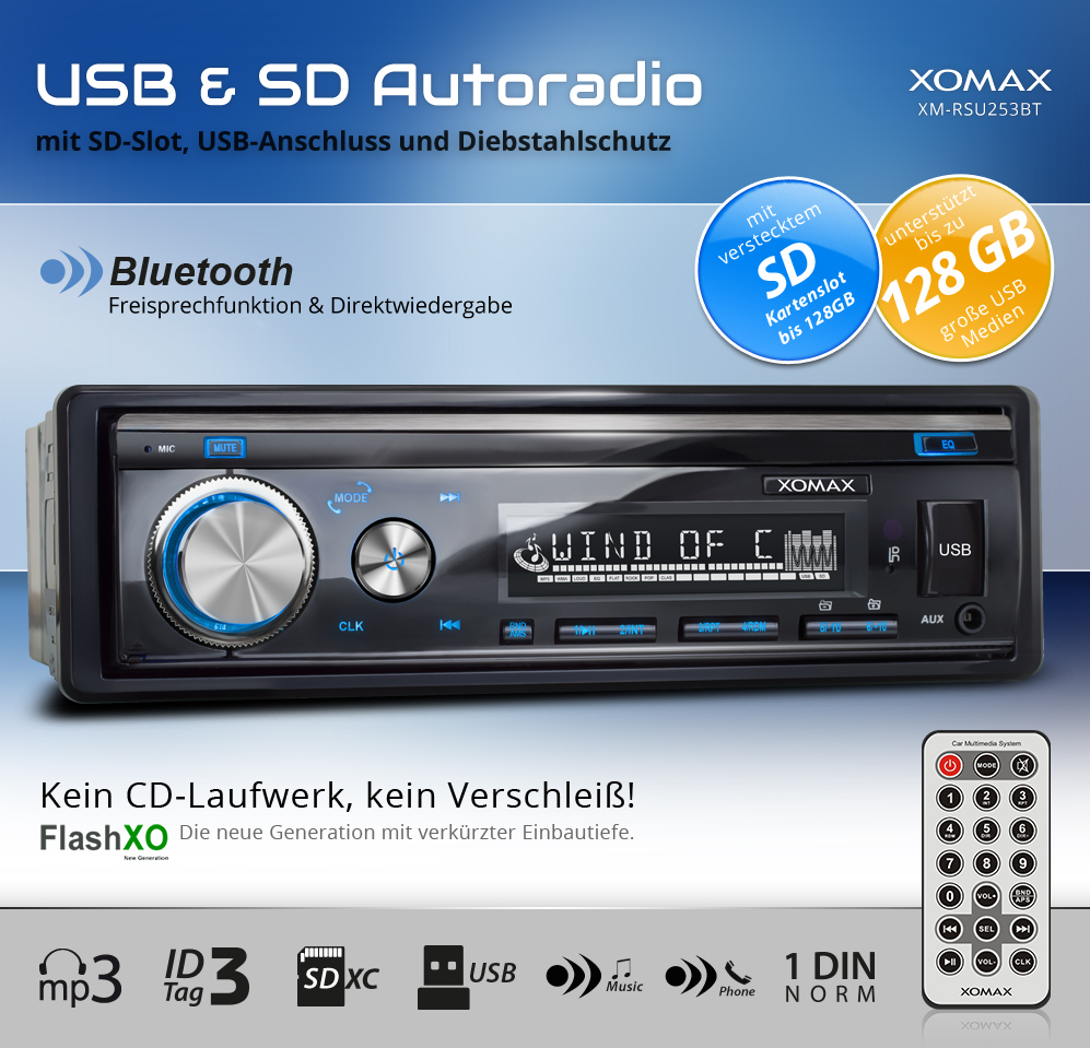 autoradio mit bluetooth freisprechfunktion usb sd mp3 id3. Black Bedroom Furniture Sets. Home Design Ideas