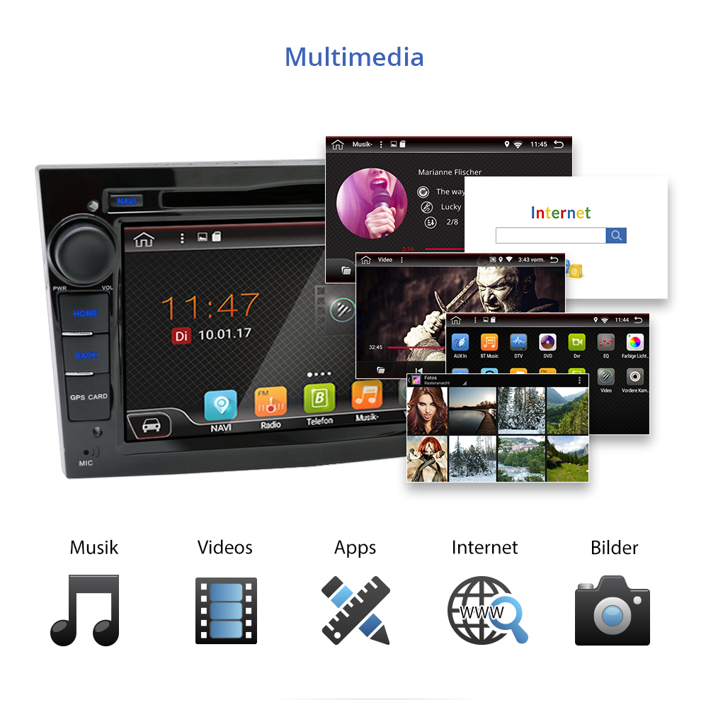 autoradio mit android 6 0 1 navigation dvd usb wifi 3g. Black Bedroom Furniture Sets. Home Design Ideas