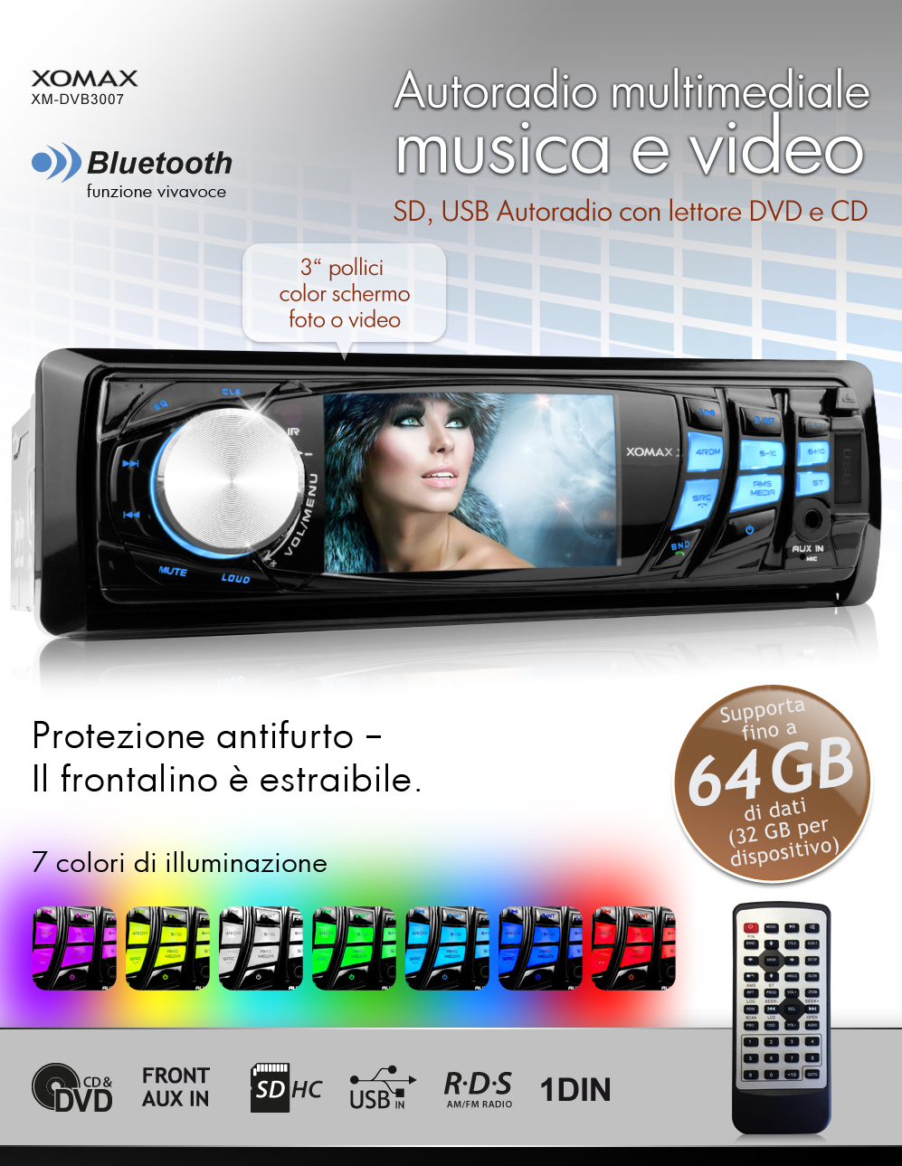 autoradio con bluetooth 7 6cm schermo display dvd cd usb. Black Bedroom Furniture Sets. Home Design Ideas