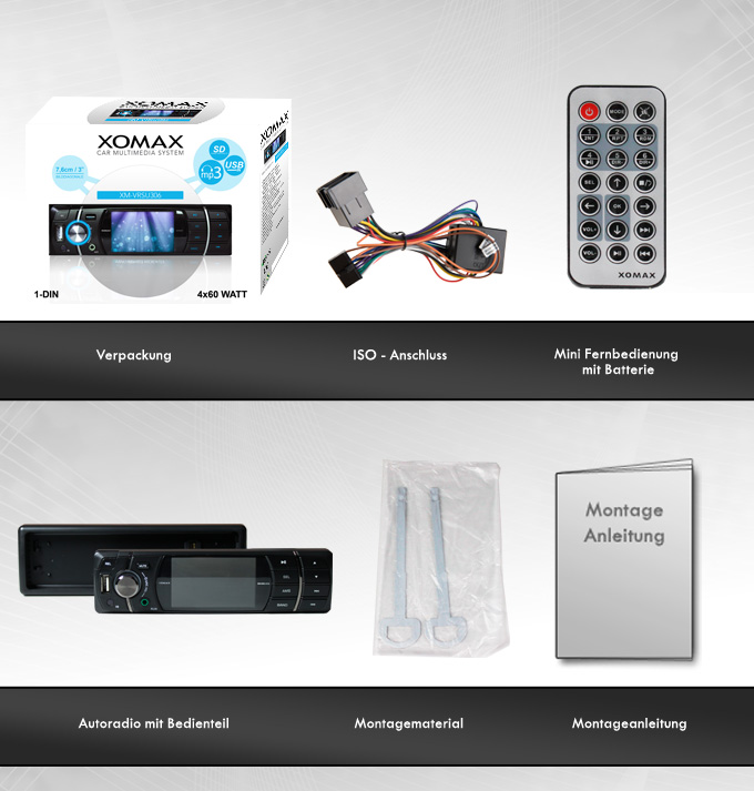 autoradio mit 7 6cm 3 monitor display bildschirm usb sd. Black Bedroom Furniture Sets. Home Design Ideas