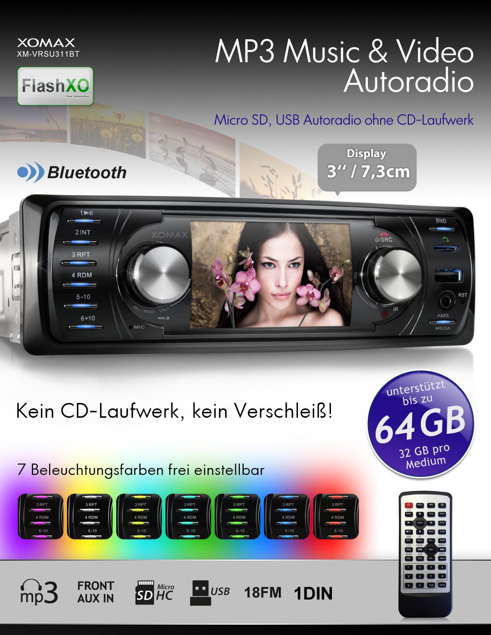 autoradio mit video bildschirm bluetooth usb sd 64gb mp3. Black Bedroom Furniture Sets. Home Design Ideas