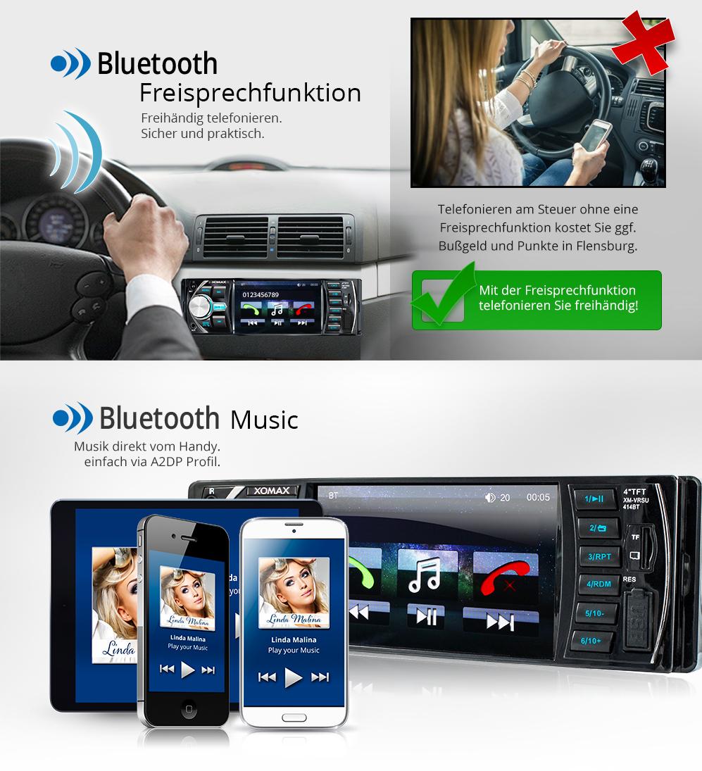 autoradio mit bildschirm display video monitor bluetooth. Black Bedroom Furniture Sets. Home Design Ideas