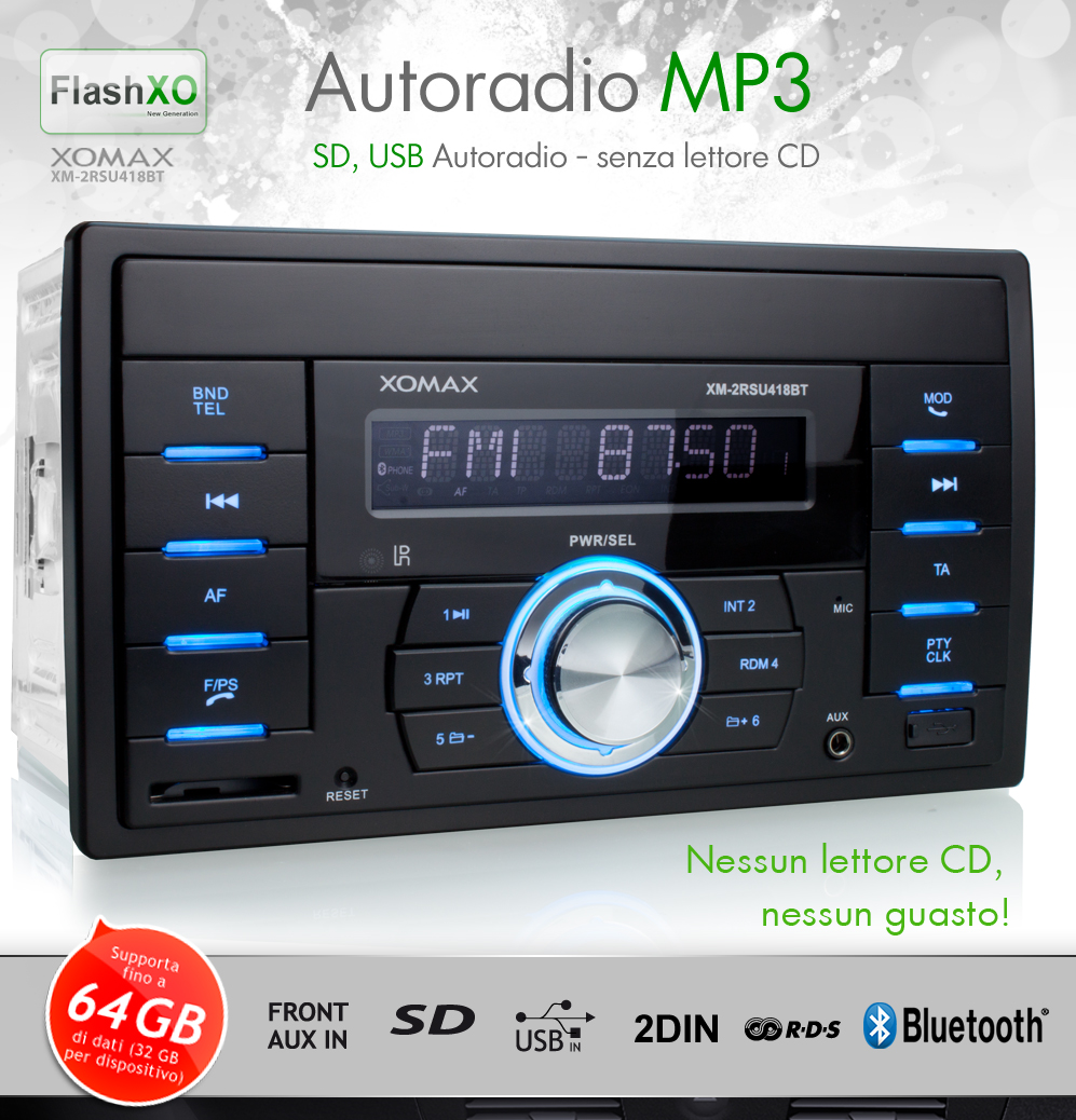 autoradio con bluetooth usb sd 64gb mp3 rds aux in 2 din. Black Bedroom Furniture Sets. Home Design Ideas