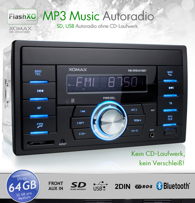 autoradio mit bluetooth usb sd 64gb aux in mp3 wma rds. Black Bedroom Furniture Sets. Home Design Ideas