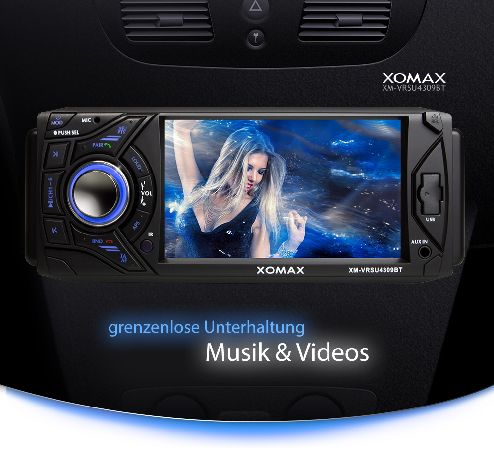xomax xm vrsu4309bt autoradio bluetooth touchscreen usb sd. Black Bedroom Furniture Sets. Home Design Ideas