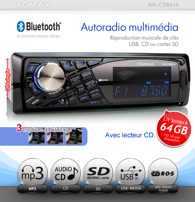autoradio avec bluetooth lecteur cd usb sd mmc 64gb mp3 rds aux eq 1din simple ebay. Black Bedroom Furniture Sets. Home Design Ideas