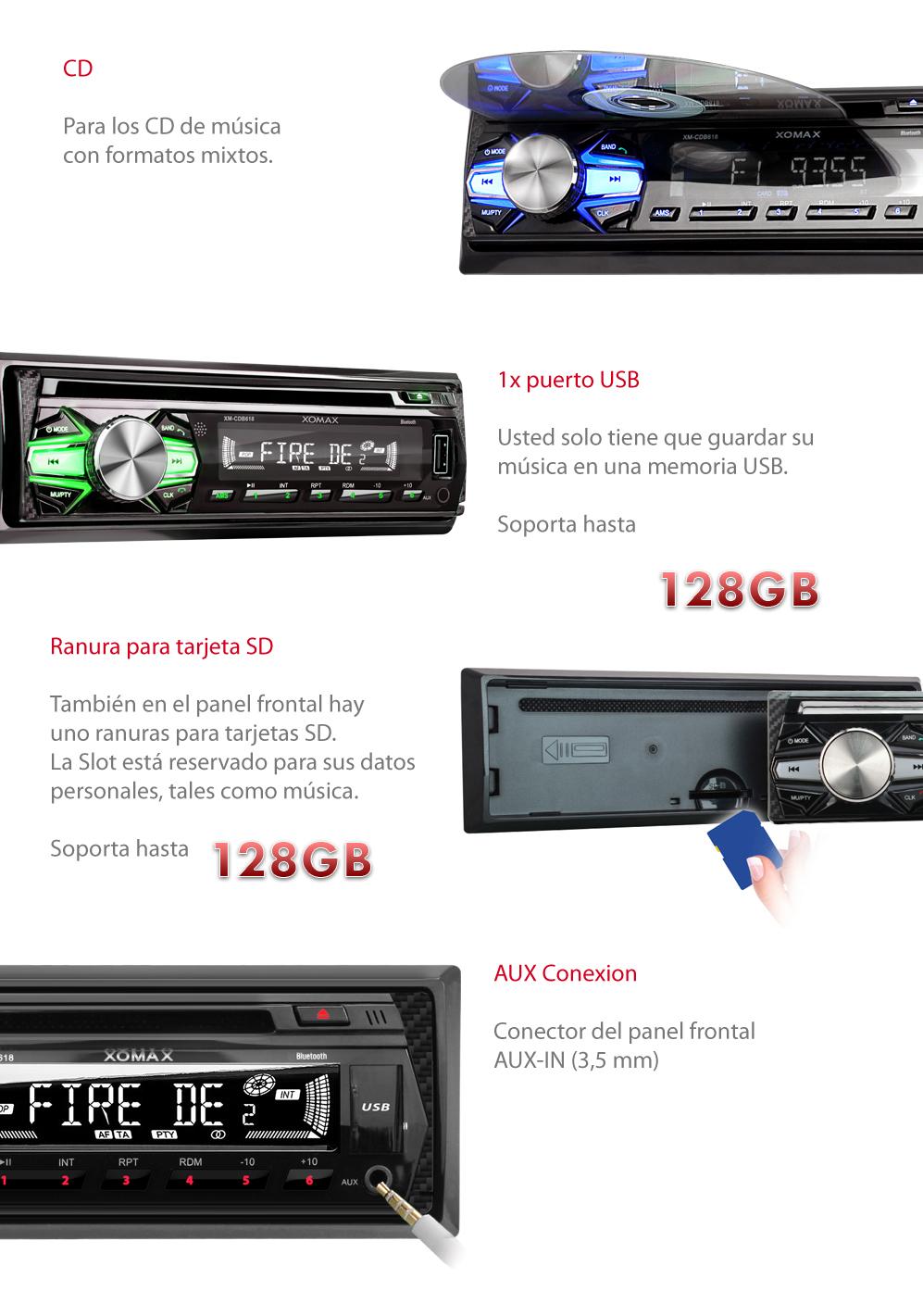 Radio de coche autorradio con lector cd bluetooth manos libres usb sd mp3 1din ebay - Lecteur cd pour voiture avec port usb ...