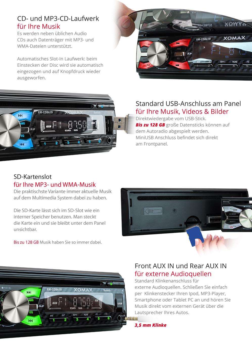 autoradio mit cd player bluetooth freisprech einrichtung. Black Bedroom Furniture Sets. Home Design Ideas