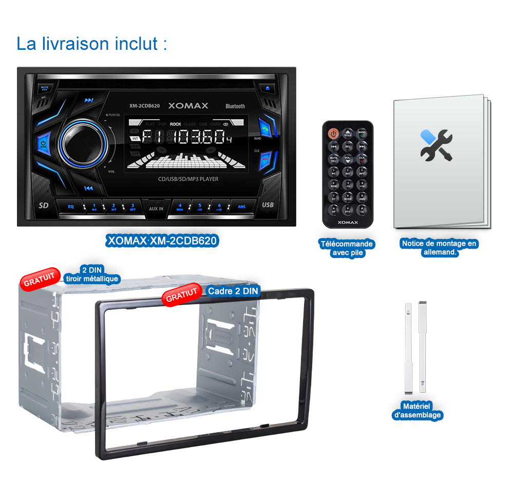 autoradio avec lecteur cd bluetooth haut parleur usb sd aux mp3 wma double 2din ebay. Black Bedroom Furniture Sets. Home Design Ideas