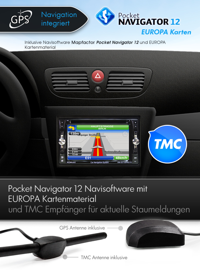 autoradio mit tmc gps navigation navi bluetooth. Black Bedroom Furniture Sets. Home Design Ideas
