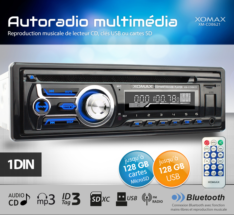 autoradio avec cd player bluetooth usb sd mp3 aux microsdxc wma led colour 1din ebay. Black Bedroom Furniture Sets. Home Design Ideas