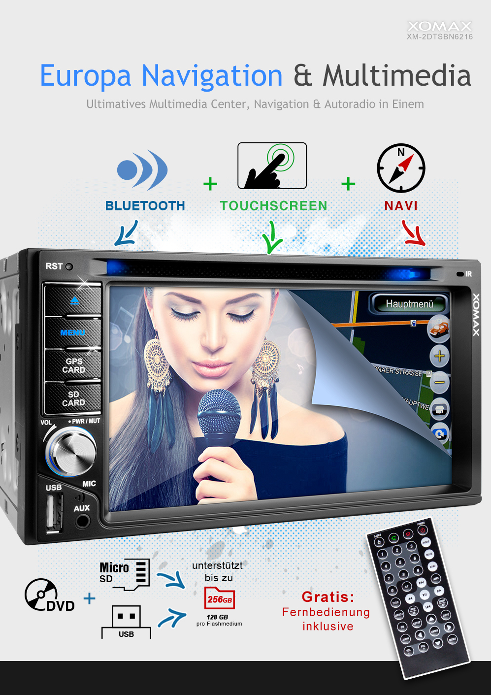 autoradio mit gps navi navigation bluetooth touchscreen. Black Bedroom Furniture Sets. Home Design Ideas