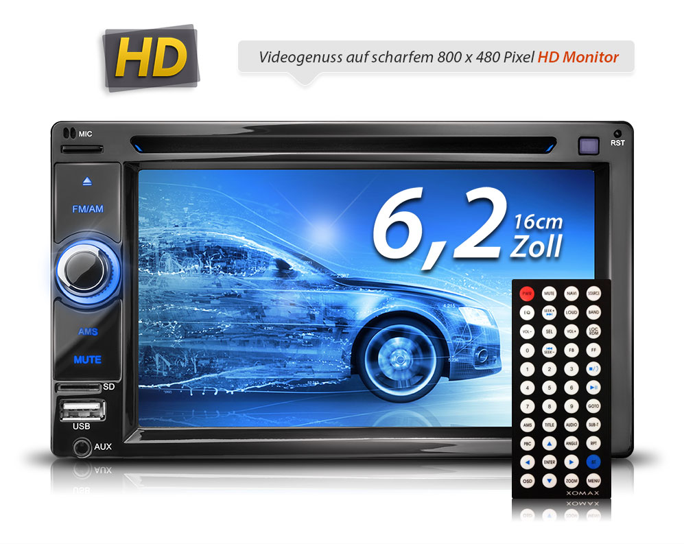 autoradio mit touchscreen display bluetooth dvd cd player usb sd aux doppel 2din ebay. Black Bedroom Furniture Sets. Home Design Ideas