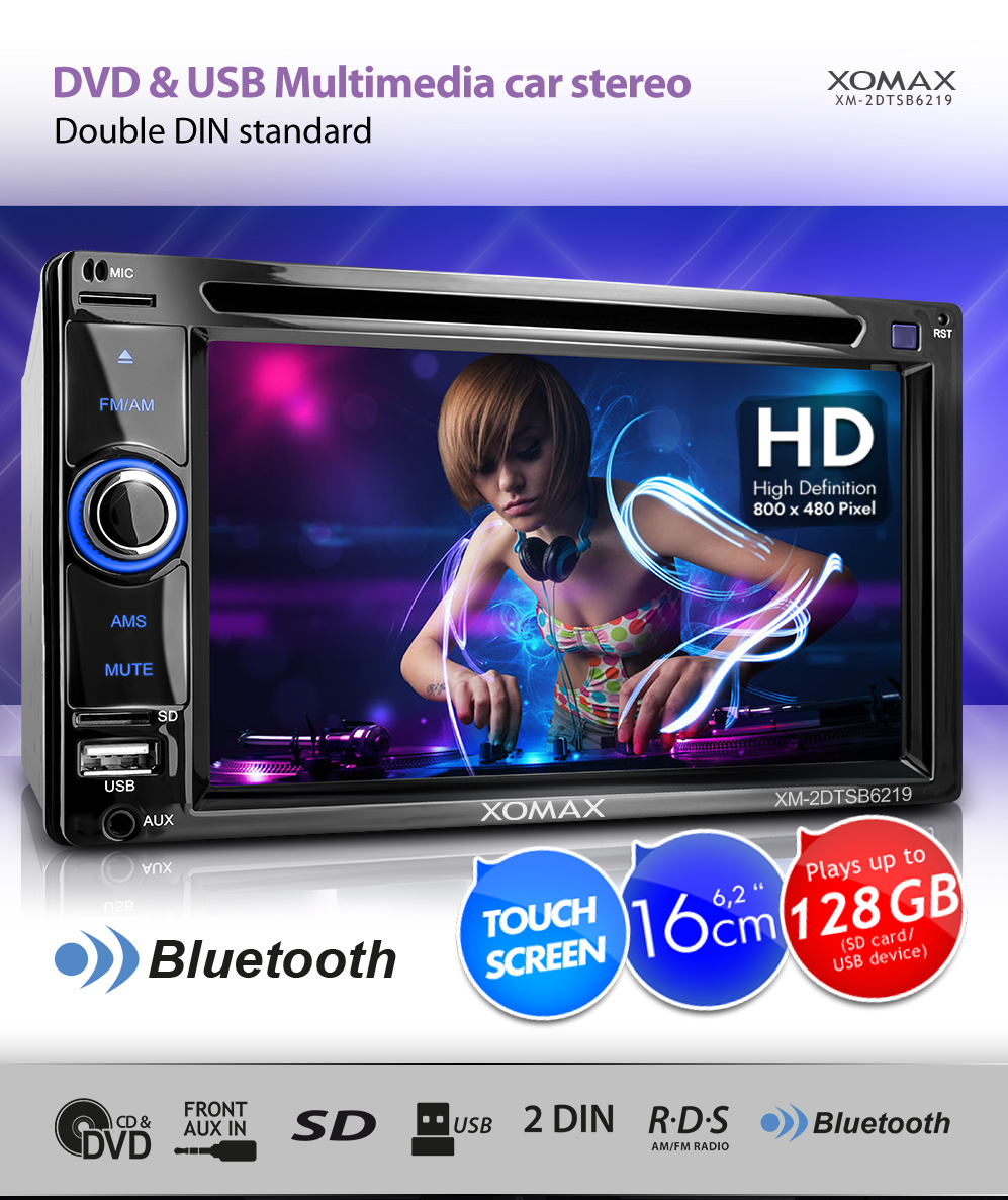 car stereo radio head unit with touch screen bluetooth dvd. Black Bedroom Furniture Sets. Home Design Ideas