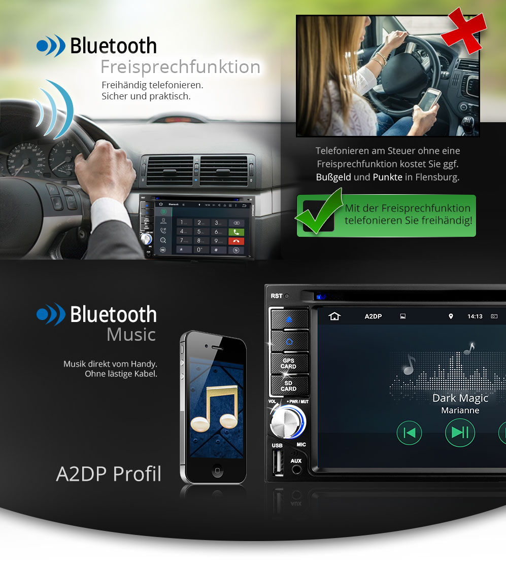 autoradio mit android 5 1 navigation navi gps bildschirm bluetooth dvd cd 2din ebay. Black Bedroom Furniture Sets. Home Design Ideas