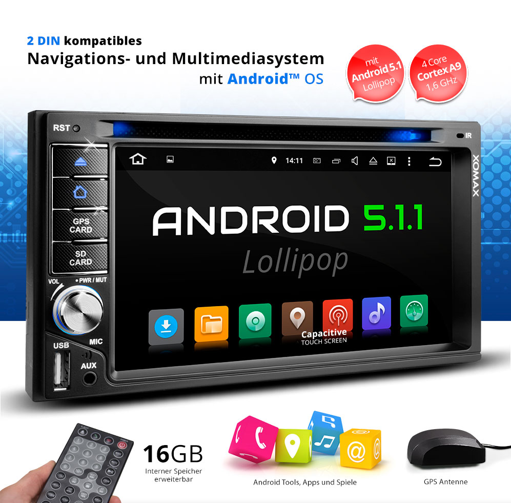 autoradio mit android 5 1 navigation navi gps bluetooth. Black Bedroom Furniture Sets. Home Design Ideas
