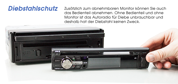 autoradio mit 25cm hd touchscreen bluetooth dvd cd sd. Black Bedroom Furniture Sets. Home Design Ideas