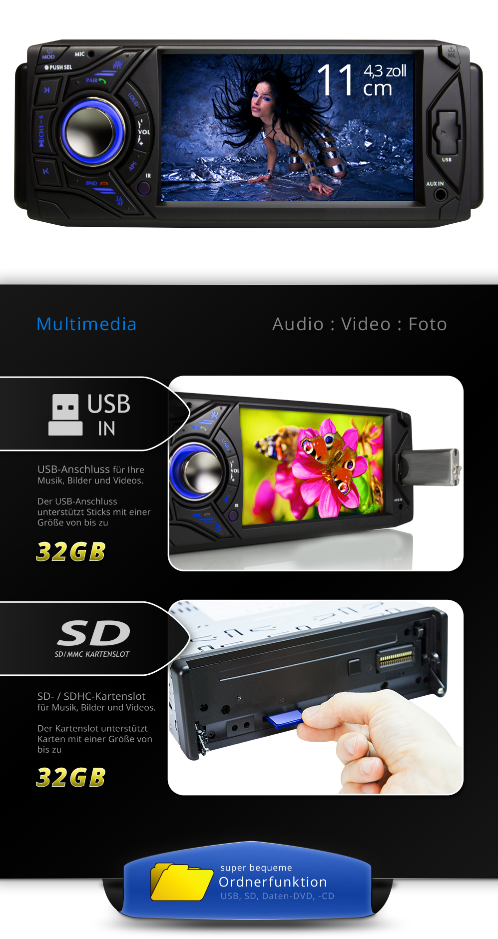 autoradio mit bluetooth touchscreen usb sd video mp3 1din. Black Bedroom Furniture Sets. Home Design Ideas