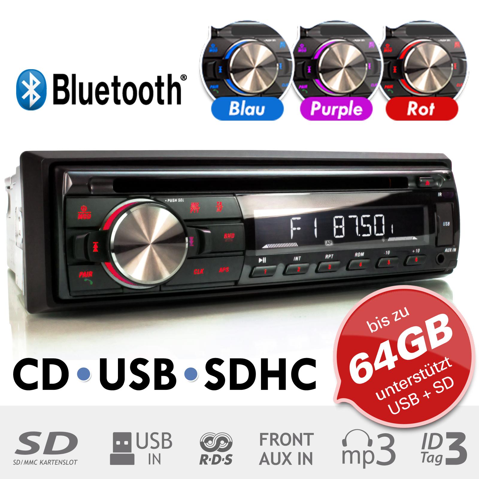 autoradio mit bluetooth mp3 cd player usb sd 64gb aux rds. Black Bedroom Furniture Sets. Home Design Ideas
