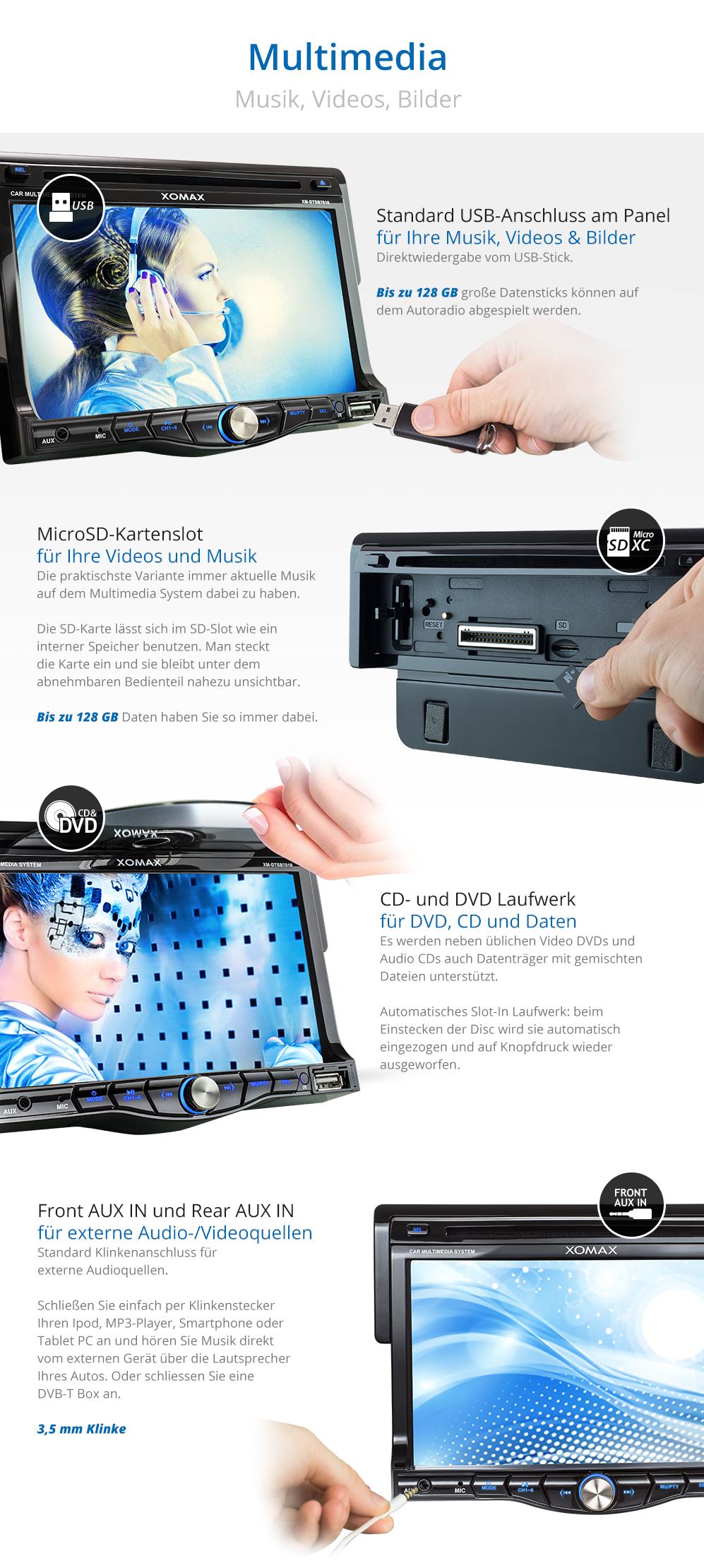 autoradio mit bluetooth 18cm touchscreen dvd cd player usb. Black Bedroom Furniture Sets. Home Design Ideas