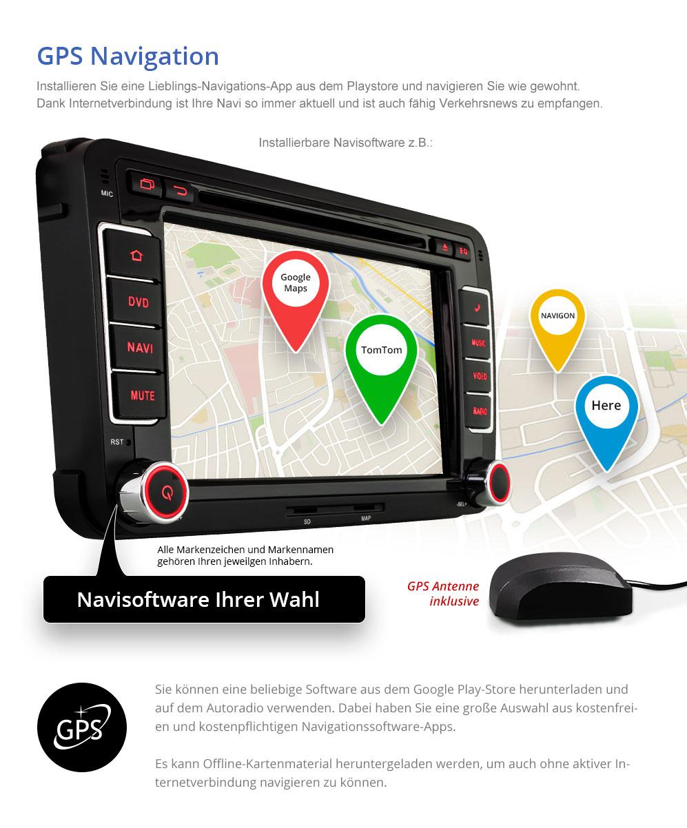 android 6 0 1 autoradio f r vw skoda seat navigation gps. Black Bedroom Furniture Sets. Home Design Ideas