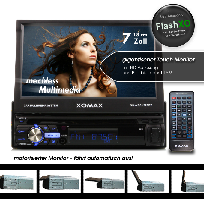 autoradio mit 7 18cm touchscreen bluetooth usb sd mp3 id3. Black Bedroom Furniture Sets. Home Design Ideas