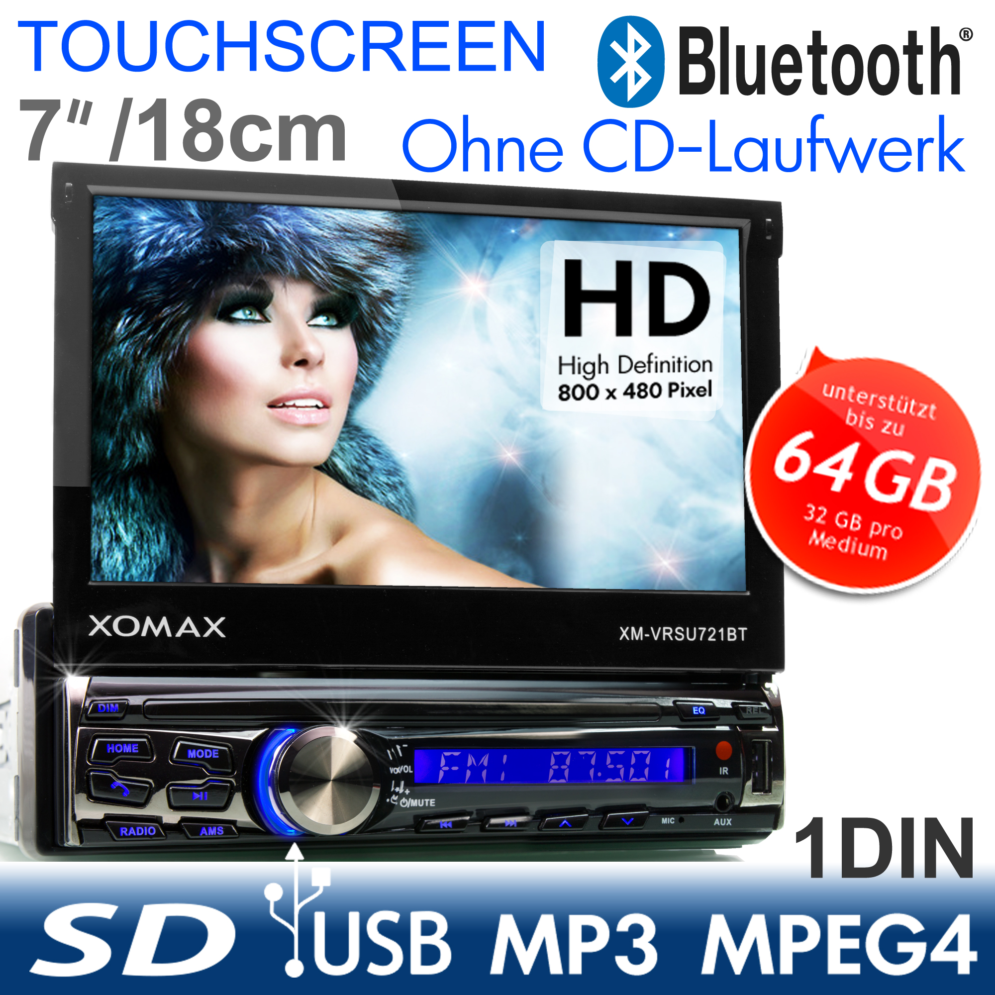 xomax xm vrsu 721bt car radio bluetooth touchscreen usb sd. Black Bedroom Furniture Sets. Home Design Ideas
