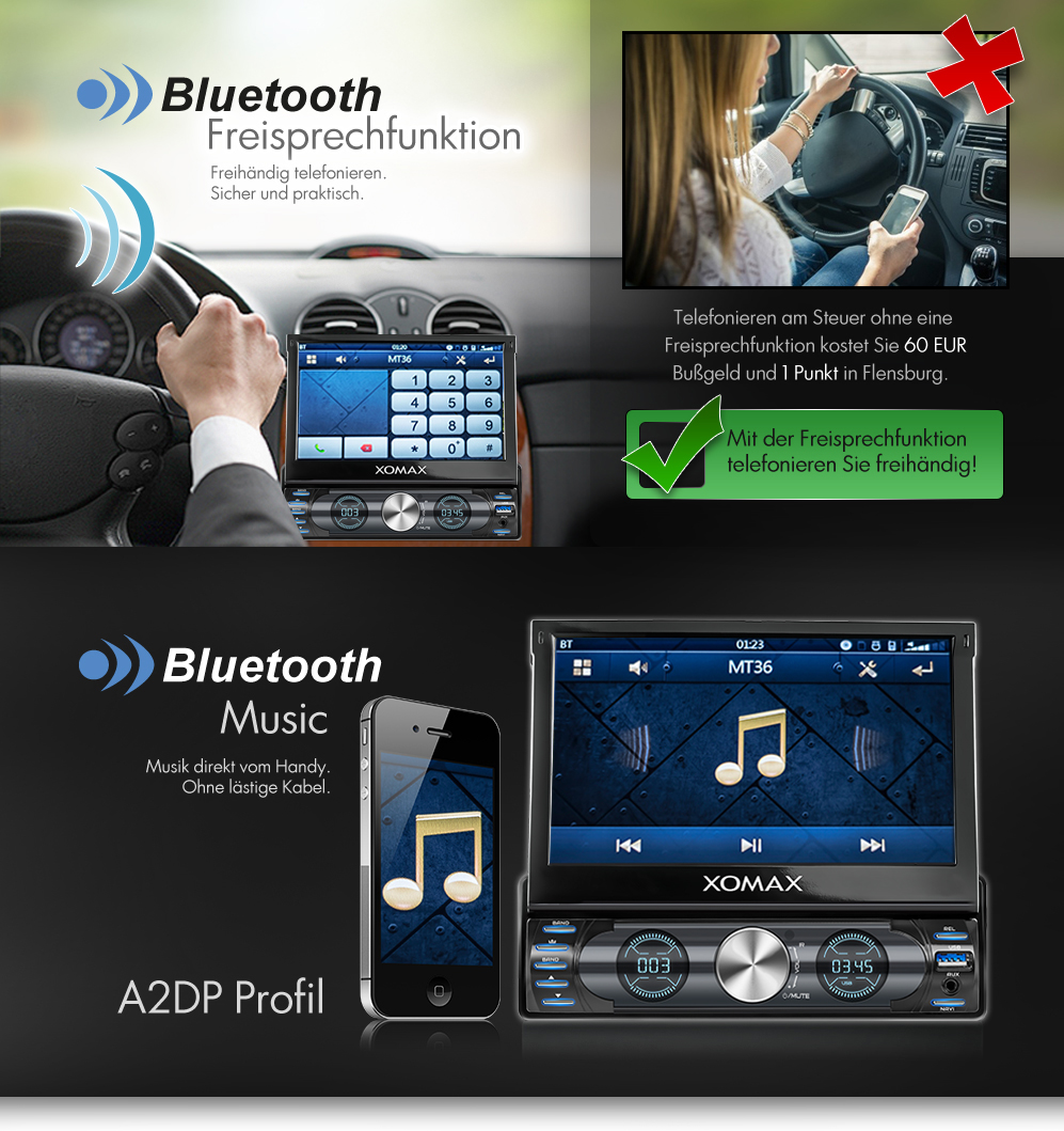 autoradio mit navi gps navigation touchscreen bluetooth. Black Bedroom Furniture Sets. Home Design Ideas