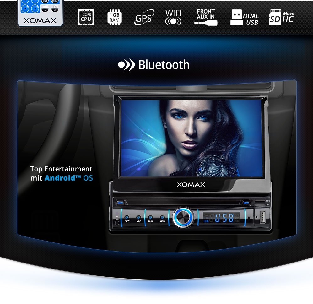 7 autoradio mit android 5 1 navi touchscreen usb sd rds. Black Bedroom Furniture Sets. Home Design Ideas