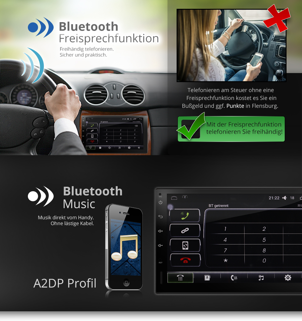 autoradio mit android 5 1 gps navigation touchscreen. Black Bedroom Furniture Sets. Home Design Ideas