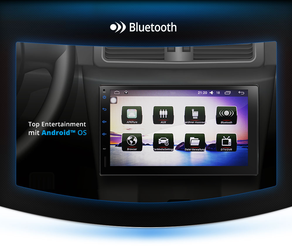 autoradio mit android 5 1 wifi gps navigation touchscreen. Black Bedroom Furniture Sets. Home Design Ideas