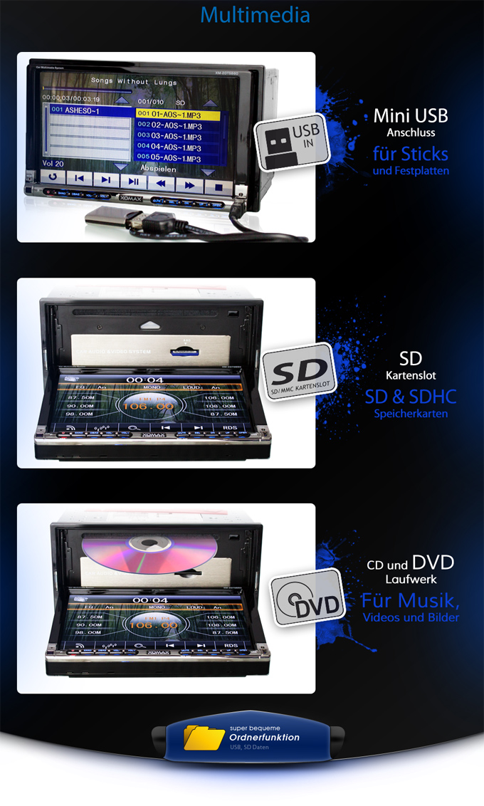 autoradio mit 18cm 7 2din touchscreen dvd cd player usb. Black Bedroom Furniture Sets. Home Design Ideas