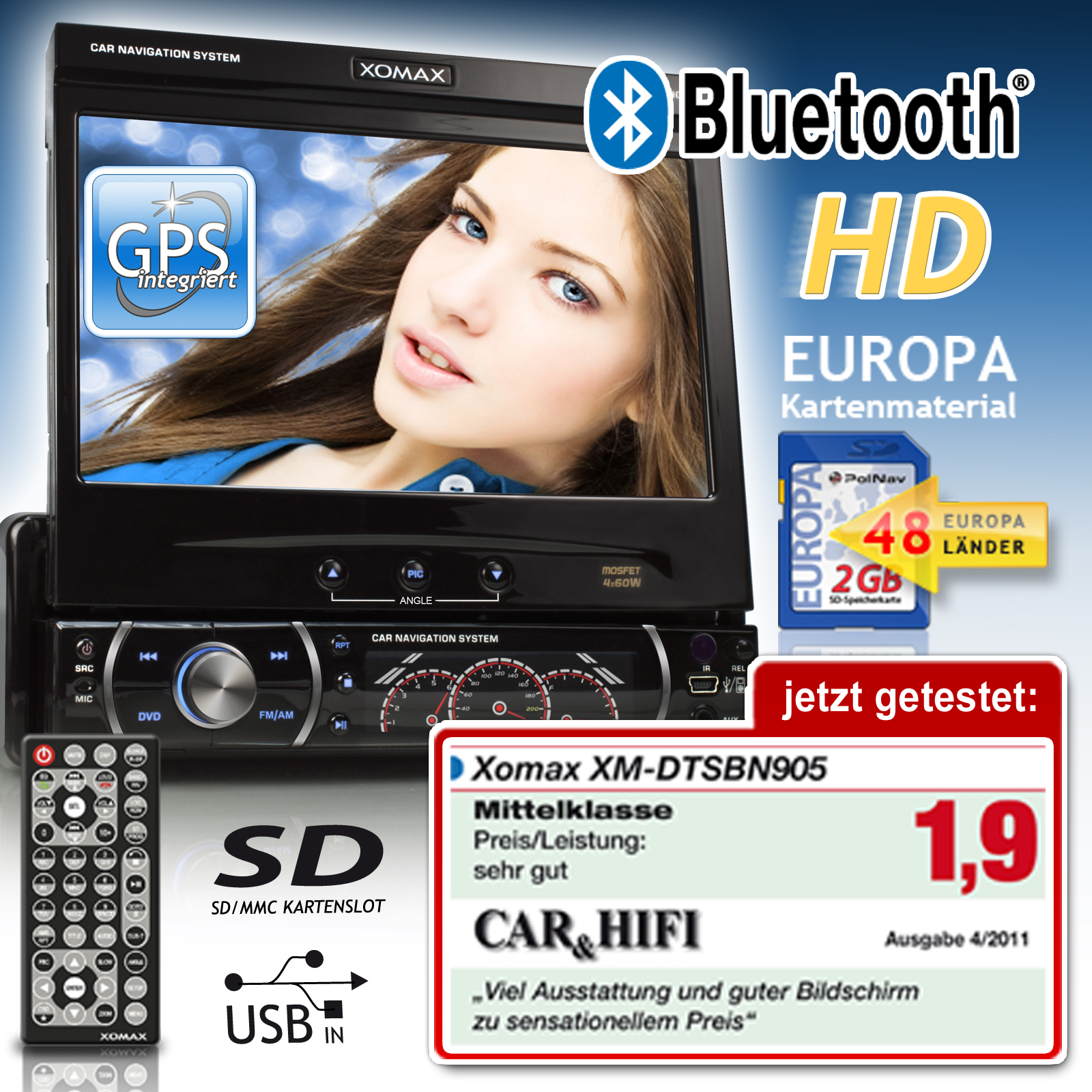autoradio mit navigation navi bluetooth touchscreen dvd cd player usb sd 1din ebay. Black Bedroom Furniture Sets. Home Design Ideas