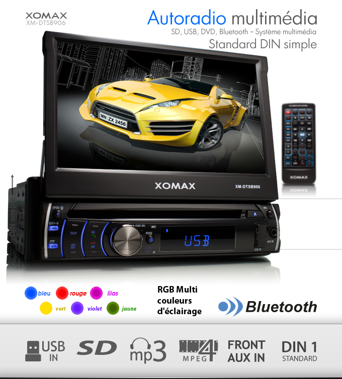autoradio bluetooth cran tactile 7 18cm lecteur dvd cd. Black Bedroom Furniture Sets. Home Design Ideas